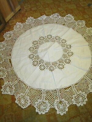 """Vtg Crochet Small Round White Tablecloth-69""""-Defects Repurpose?"""