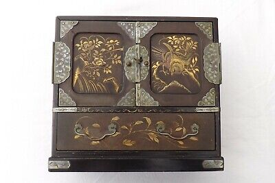 Victorian Japanese Small Lacquer Box  Fantastic Decoration Birds And Flowers