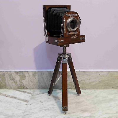 Antique Style Vintage Old Camera With Tripod Decorative Model