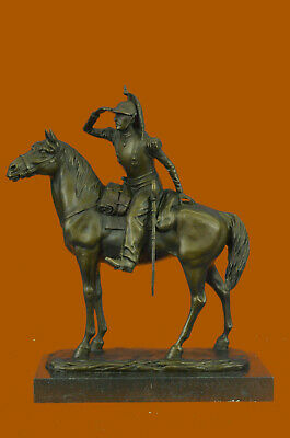 Handcrafted Detailed Rich Patina French Cavalryman Bronze Sculpture Home Deal
