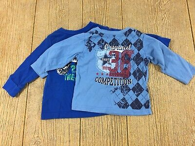 Lot of 2 Infant Baby Boys Size 6-9 Months Long Sleeve Shirts Blue Babies R Us