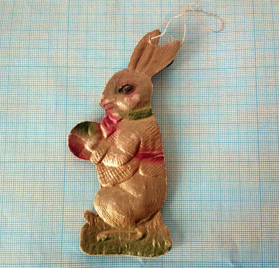 German Dresden Victorian Rabbit With Ball! Embossed Foil Cardboard Xmas Ornament