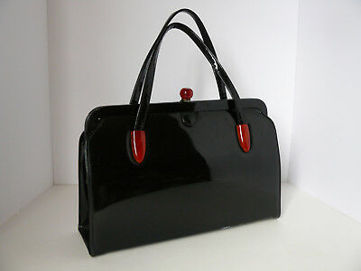 Vtg Mid Century Black Patent Leather Handbag w/ Tortoise Shell Lucite Accents