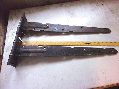 Huge Blacksmith Made Early American Hinge Set Pair 24 inch Copper Accents LOOK