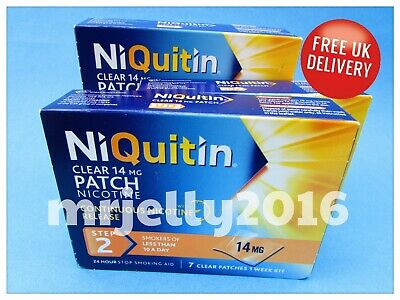 NIQUITIN 14mg CLEAR PATCHES - STEP 2 ... 2 BOXES (2 WEEKS SUPPLY)