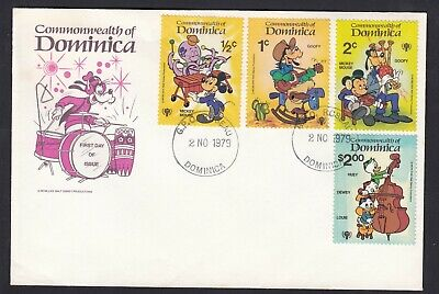 1979 Dominica Musical Instruments Cartoon First Day Cover FDC Walt Disney Stamps