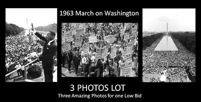 1963 Martin Luther King Jr 3 PHOTOS LOT March on Washington, BLACK CIVIL RIGHTS