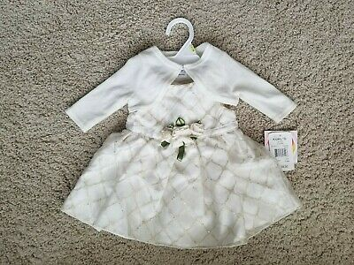 5b26b71330aa5 BABY GIRL EASTER Dress 3-6 Months Cream Ivory Gold 2 Piece Lot With Cardigan