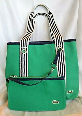 ffe95cc9076 LACOSTE Classic Canvas Tote Shopper Beach Handbag & Wristlet Green Blue  Stripes