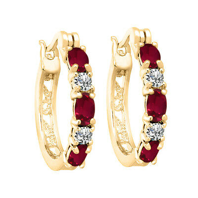 Summer 2.00Ct Created Ruby Hoop Earrings with Diamond 14K Yellow Gold Over Brass