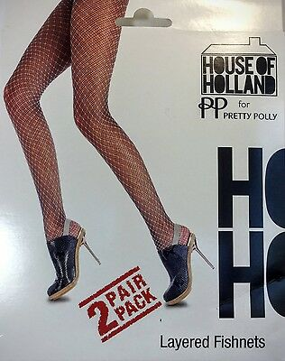c3b2d2b0125f5 PP House of Holland PRETTY POLLY Fish Net Layered Tights Two Pair Pack One  Size