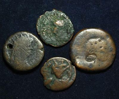 Set of 4 ancient coins: Nero x2, Trajan & one other unidentified