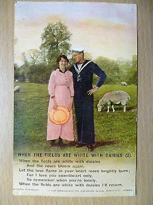WW1 Military/Navy Bamforth Song Postcard: When The Fields Are White With Daisies