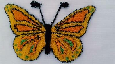"7X6"" Finished Butterfly Loop Punch Embroidery, Yellow Orange 3.25X2""Design"