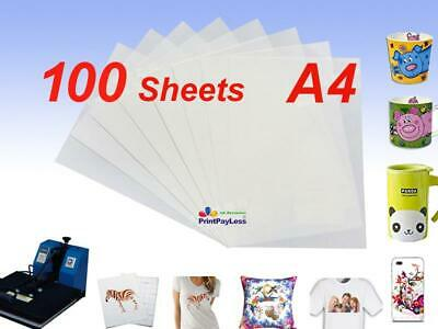 100 Sheets A4 Heat Transfer Paper for Dye Sublimation Ink Mugs,Phone Cases-Light