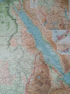 1922 Egypt and the Nile Large Original Antique Map Alexandria Aden Sudan