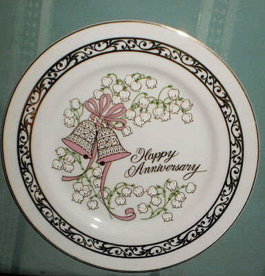 Vintage Happy Anniversary Plate'  Gold Painted By George' Vg