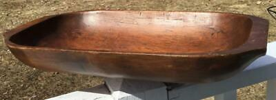 "Antique New England Hand Carved Wood Trencher 17.5""L Country Primitive Americana"