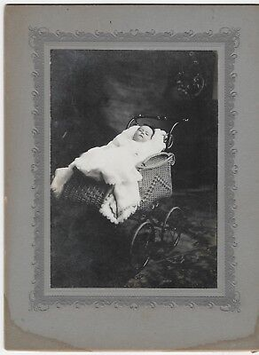 Antique photograph POSTMORTEM DEAD BABY PICTURE death SAD cabinet photo 8x6 in