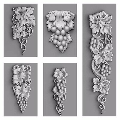 "3d stl Model for CNC Router Machine Artcam Vectric Aspire ""5Pcs Decor Set"""