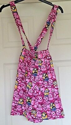 Girls Despicable Me Minions Skirt Pink Dungaree Skirt Size 7-8 Years Summer B41