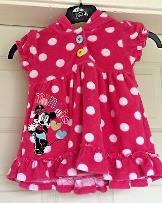 Girls Disney Minnie Mouse Top Pink White Spotted Hooded Top Age 6-9 Months B41