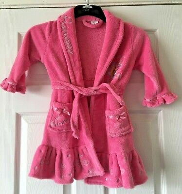 Girls Disney Princess Dressing Gown Pink Fluffy Bath Robe Tangled 2-3 Years B38
