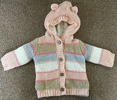 Girls George Multi-Coloured Striped Cardigan Jacket Thick Winter 3-6 Months B74