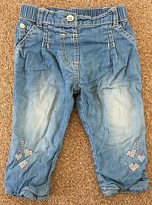 Girls Asda George Blue Denim Look Trousers Embroidered Hearts Age 3-6 Months B74