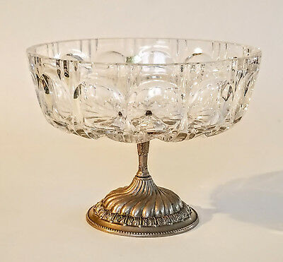 VTG Cut Pressed Leaded Crystal Footed Bowl German Bleikristall Centerpiece