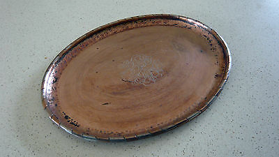 Huw Wallis Arts & Crafts Copper Tray with Segmented Rim  - Stamped HW