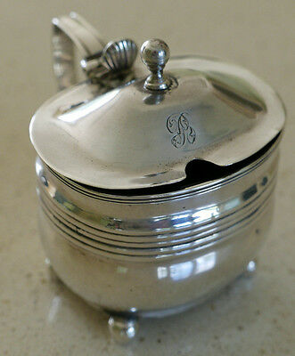 Large George III silver mustard pot & liner - London 1810 rubbed makers mark