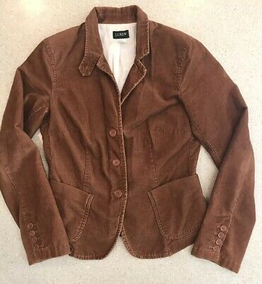 3fee3a6b2 J. CREW CORDUROY Equestrian Riding Blazer Horse Jacket Womens S Brown  Cotton EUC