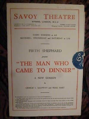 Theatre Programme  THE MAN WHO CAME TO DINNER - ROBERT MORLEY DAPHNE COURTNEY