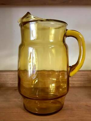 "Vintage Glass Iced Tea Water Pitcher w Ice Lip Amber 9"" Tall Tiny Chip on Lip"