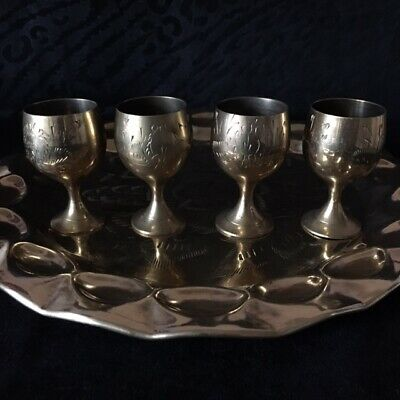 Middle Eastern  Brass plate with 4 cups ( Vintage )