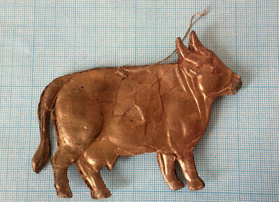 ANTIQUE GERMAN DRESDEN VICTORIAN COW EMBOSSED CARDBOARD CHRISTMAS ORNAMENT 1900s