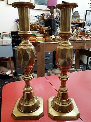 Pair of two Victorian antique brass candlesticks,candle holders ,diamond detail