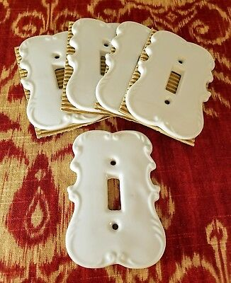 Vintage - Japan - Arnart - White Porcelain - Light Switch Plate Cover x5 - NOS
