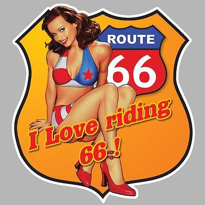 stickers PINUP ROUTE ROAD 66  120mmX110mm AUTO MOTO BIKER US