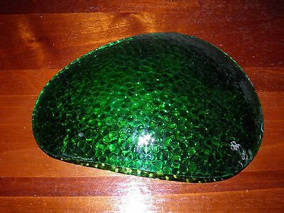 Vintage, green, bent/curved, bubbly surface, slag glass, lamp shade panel.