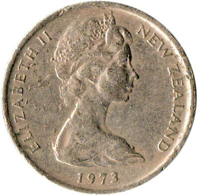 Coin / New Zealand / 5 Cent 1973 Queen Elizabeth Ii.  #Wt1596