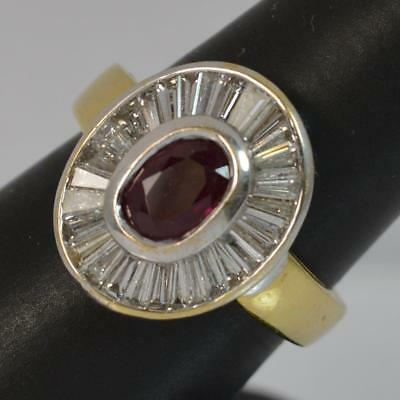 Substantial 18ct Gold Ruby & 1.50ct Diamond Cluster Ring d0416