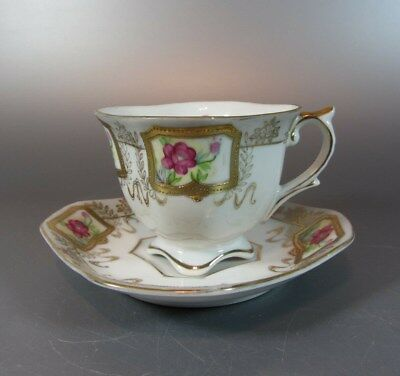 Vintage SHAFFORD JAPAN Footed & Square Tea Cup & Saucer Hand Decorated Flower