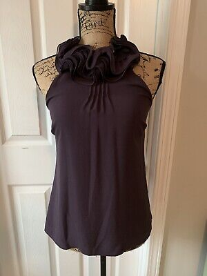 25c59baa6a47b6 ANN TAYLOR SILK Blouse Purple Sleeveless Size XS Petite Ruffled Neck ...