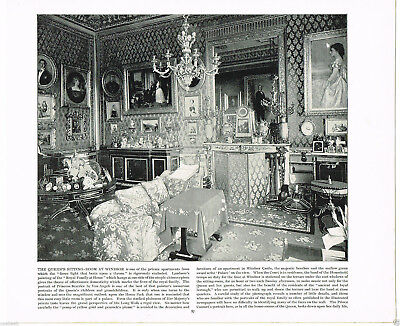 The Queen's Sitting Room At Windsor, Berkshire - 1894 Antique Victorian Print