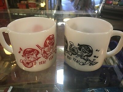 Pair of Vintage 60's The Beatles Themed Yea Yea Federal Milk Glass Mugs