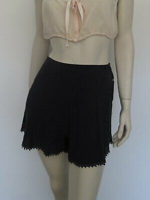 Black Silk Tap Pants, French Knickers, With Faggoting Trim - 1930s
