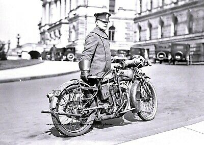 1924 Motorcycle Cop Indian Motorcycle PHOTO, DC Police 1918 Indian Powerplus