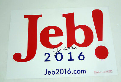 Jeb Bush President 2016 Signed Full Autograph Official Campaign Sign Poster COA
